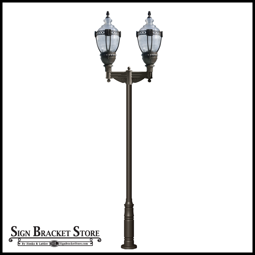 Vintage street light with double arms 120v hid click to enlarge aloadofball