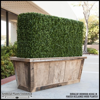 Duraleaf Boxwood Indoor Artificial Hedge in Modern Fiberglass Planter 24inLx 12inW