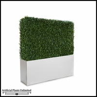 Duraleaf Boxwood Indoor Artificial Hedge in Modern Fiberglass Planter 36inLx 12inW