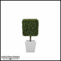 45in.H Duraleaf Boxwood Topiary Cube Tree in Custom Fiberglass Planter, Indoor Rated