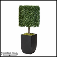 51in.H Duraleaf Boxwood Topiary Cube Tree in Black Metal Planter, Outdoor Rated