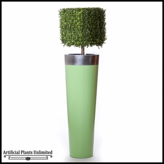 51in.H Duraleaf Boxwood Topiary Cube Tree in Custom Fiberglass Planter, Outdoor Rated