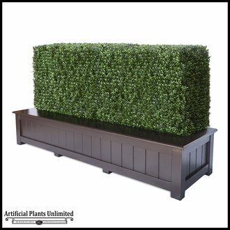 Duraleaf Boxwood Outdoor Artificial Hedge in Modern Fiberglass Planter 48inLx 12inW