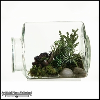 12in. Easter Grass Echeveria and Succulent in Glass Jar
