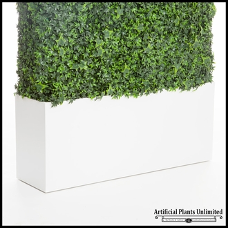 English Ivy Fire Retardant Artificial Hedge in Modern Planter 24in.L x 12in.W