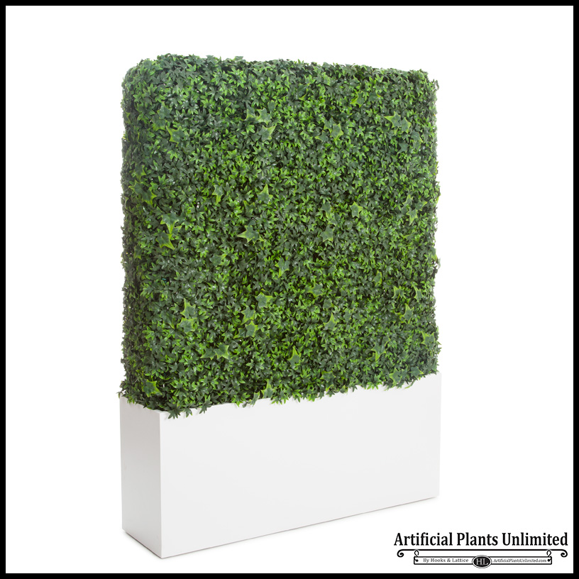 English Ivy Outdoor Artificial Hedge In Modern Planter
