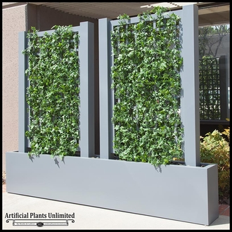 English Ivy Trellis Space Divider in Fiberglass Planter 36inL x 12inW x 72inH