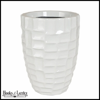 Fiorello Fiberglass Tapered Round Planter - Glossy White
