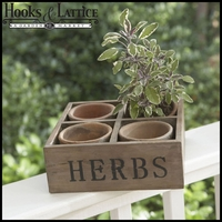 Four Clay Moss colored Pots with Wood Crate