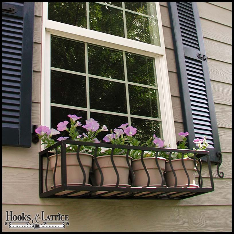Wrought iron window planter french window box cages for French window design