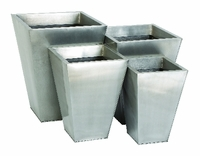 Galvanized Silver Metal Tapered Planters