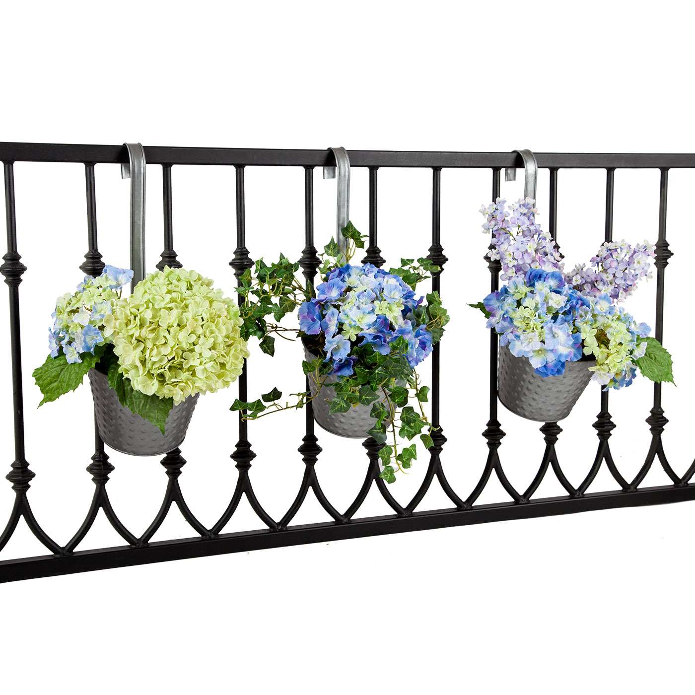 Galvanized tin round balcony planters hooks lattice for Balcony planters