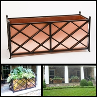 "Georgia Wrought Iron Planter with Real Copper Liner - 52"" L x 20"" W x 20"" H"