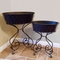 Wrought Iron Tub Planter with Metal Liner - Set of 2