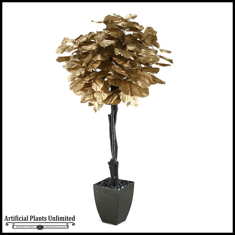 7 gold fiddle leaf fig tree in square metal planter