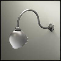 "Aluminum Gooseneck RLM Light - 24-3/4""L x 1/2"" Dia Arm - 10"" Domed Shade"