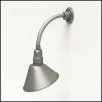 "Gooseneck Light Aluminum - 12"" W x 12"" H, Arm - with 10in. Angle Shade"