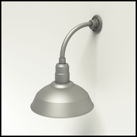"Gooseneck Light Aluminum - 10"" W x 10"" H, Arm - with 14in. Warehouse Shade"
