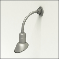"""Gooseneck Light Aluminum - 10"""" W x 10"""" H, Arm - with 7in. Angle Shade"""