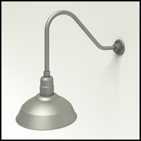 "Aluminum Gooseneck RLM Light |  22-1/4""L x 1/2"" Dia Arm - 14"" Warehouse Shade"