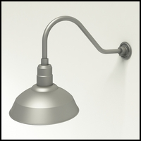 "Gooseneck Light Aluminum- 22-1/4""L x 3/4"" Dia Arm - 14"" Warehouse Shade"