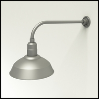 "Gooseneck Light Aluminum - 23"" W x 7.5"" H, Arm - with 14in. Warehouse Shade"