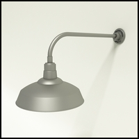 """Gooseneck Light Aluminum - 23"""" W x 7.5"""" H, Arm - with 16in.Warehouse Shade"""