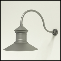 "Aluminum Gooseneck RLM Light -24.75"" x   3/4""  Dia. Arm with 16"" Barn Light Shade"