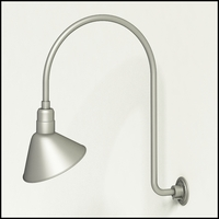 "Gooseneck Light Aluminum - 25.25"" W x 30"" H, Arm - with 12in. Angle Shade"