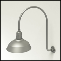 "Gooseneck Light Aluminum - 25.25"" W x 30"" H, Arm - with 14in. Warehouse Shade"