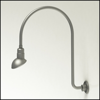 "Gooseneck Light Aluminum - 25.25"" W x 30"" H, Arm - with 7in. Emblem Shade"