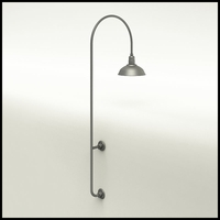 "Gooseneck Light Aluminum - 27.25"" W x 85"" H, Arm - with 14in. Warehouse Shade"