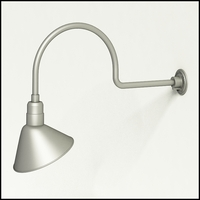 "Gooseneck Light Aluminum - 29.75"" W x 12"" H, Arm - with 12in. Angle Shade"