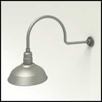 "Gooseneck Light Aluminum - 29.75"" W x 12"" H, Arm - with 14in. Warehouse Shade"