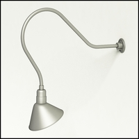 "Gooseneck Light Aluminum - 35"" W, Arm - with 12in. Angle Shade"