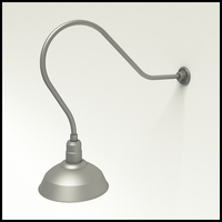 "Gooseneck Light Aluminum - 35"" W, Arm - with 14in. Warehouse Shade"