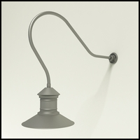 "Gooseneck Light Aluminum - 35"" x 3/4"" Dia. Arm with 16"" Barn Light Shade"