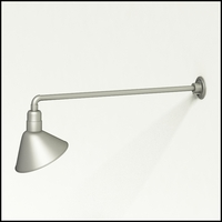 "Gooseneck Light Aluminum - 37.5"" W, Arm - with 12in. Angle Shade"