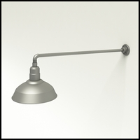 "Gooseneck Light Aluminum - 37.5"" W, Arm - with 14in. Warehouse Shade"