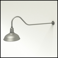 "Gooseneck Light Aluminum - 48.25"" W x 9"" H, Arm - with 14in. Warehouse Shade"