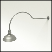 "Gooseneck Light Aluminum - 54.25"" W x 18"" H, Arm - with 14in. Warehouse Shade"