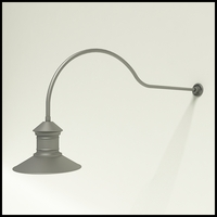 "Gooseneck Light Aluminum - 54.25"" x 3/4"" Dia. Arm with 16"" Barn Light Shade"