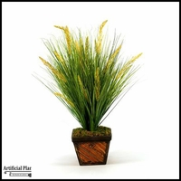 33in. Grass in Square Bamboo Planter