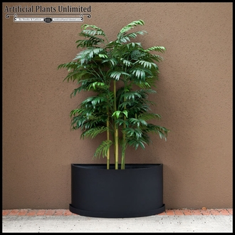 Half Round Planter With Various Artificial Plants
