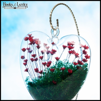 Heart Terrarium with Terrarium Stand - Red Flowers