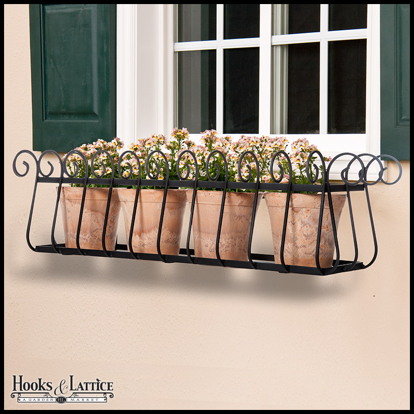 Modern Flower Planters Wrought Iron Window Boxes Hooks