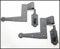 "Heavy Duty Steel Suffolk Style ""L"" Hinge and Pintel Set (8 Pcs)"