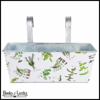 Herb Print Rectangular Flower Box Balcony Planter