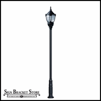 HID Vintage Look Dark Sky Post Mount Light with Clear Lens -120v - Powder Coated Cast Aluminum Fixture