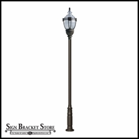High Output Vintage Design Lamp Post with Clear Top - 120v - Cast Aluminum Light Fixture